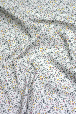 Coton imprimé glamour et poésie gris-vert