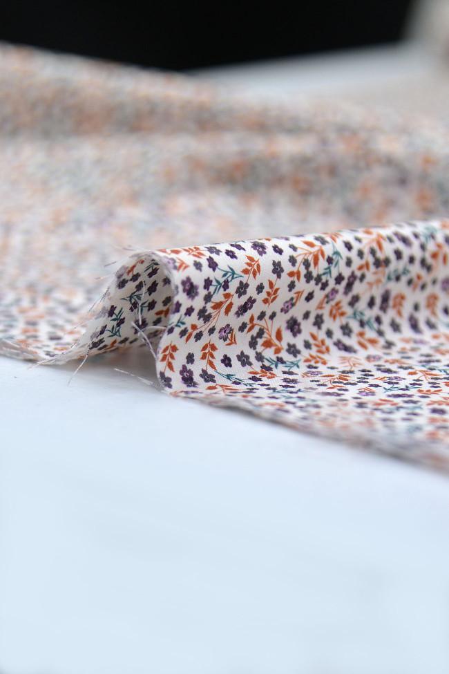 Coton imprimé nénuphar violet