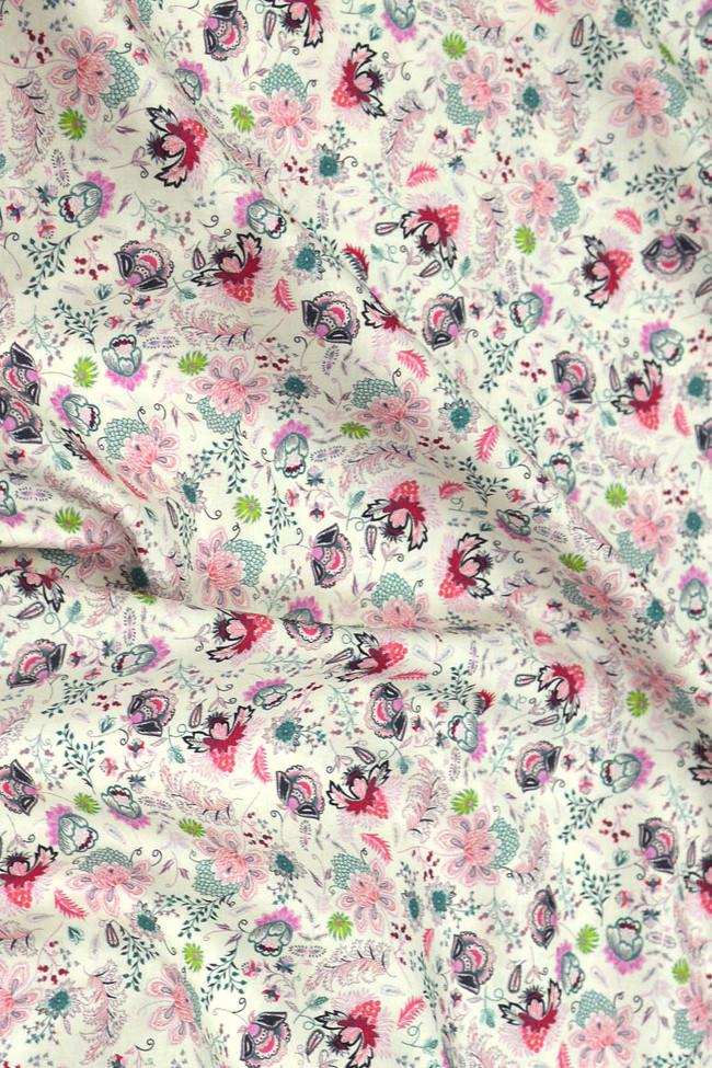 Coton imprimé primevère rose