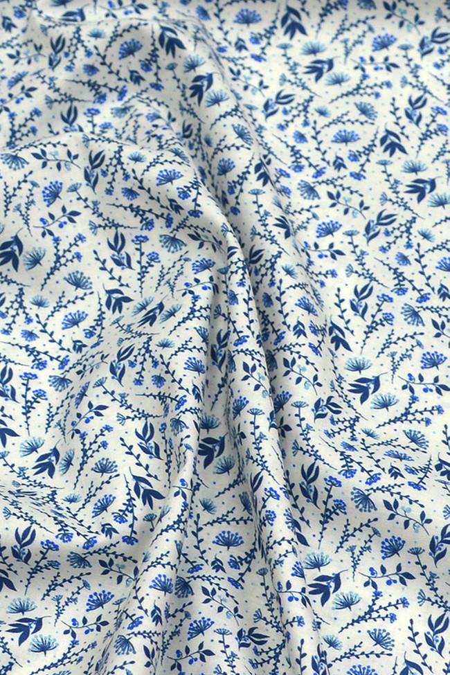 Coton imprimé glamour et poésie bleu roi