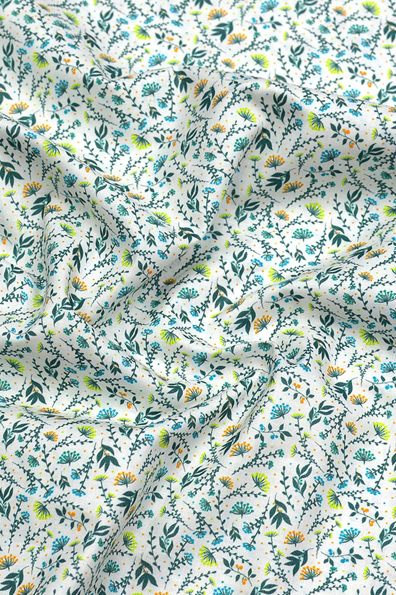 Coton imprimé glamour et poésie ocean kiwi