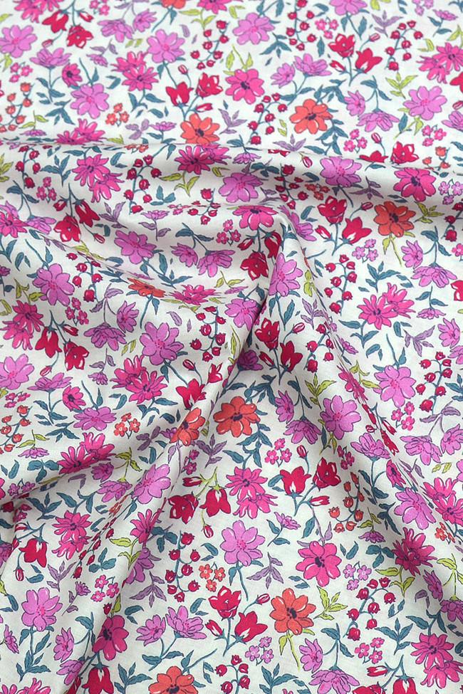 Coton imprimé bouquet final fuchsia