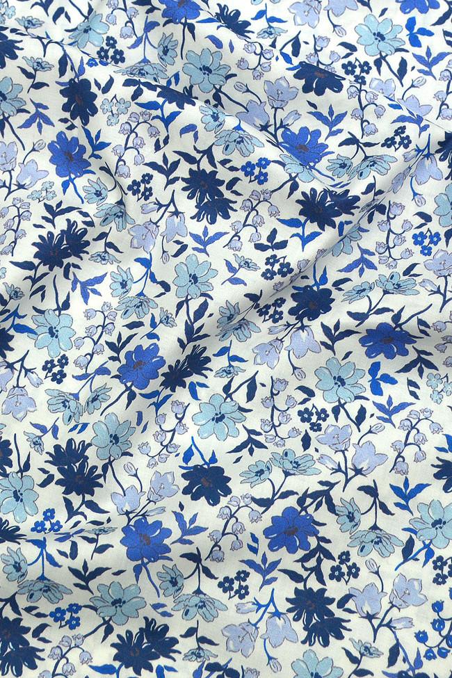 Coton imprimé bouquet final bleu
